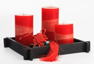 Chinese Fengshui set (talisman, red candles and stones)